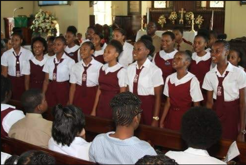 The Glenmuir High School Choir ministers at a service of thanksgiving and praise held in recognition of Founder's Day at the St Gabriel's Anglican Church in May Pen.