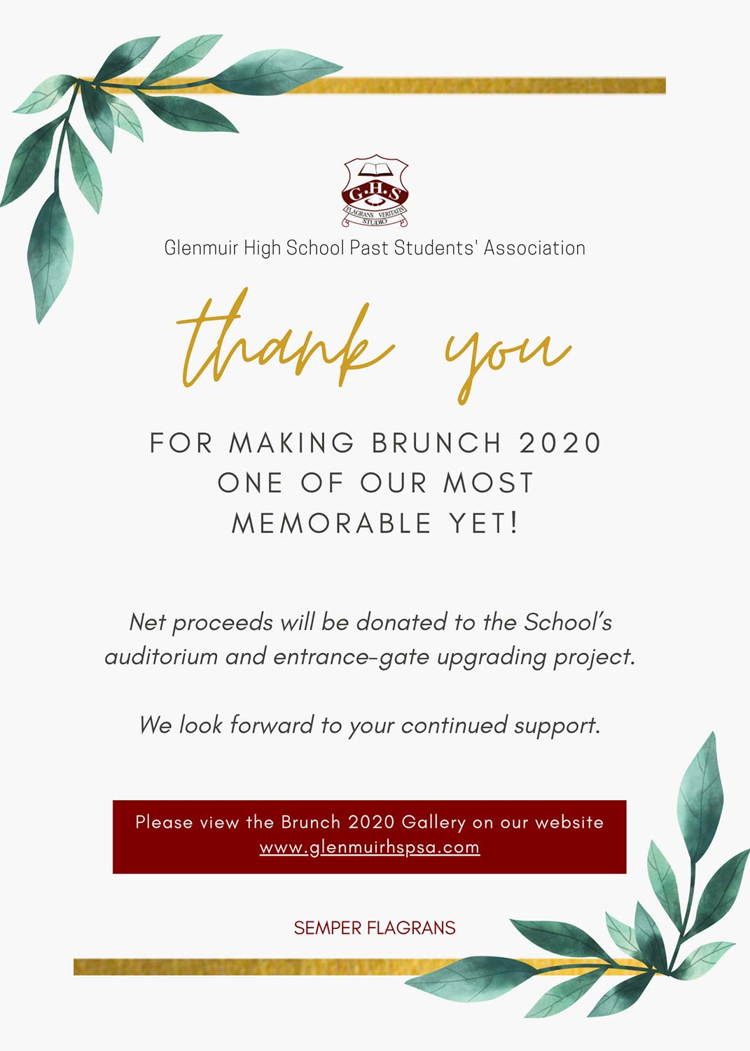 Thank You - GHSPSA Brunch 2020